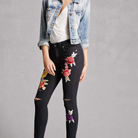 Floral Patched Skinny Jeans