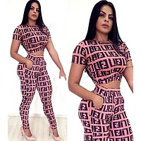 Fendi tide brand female print letter two-piece Pink