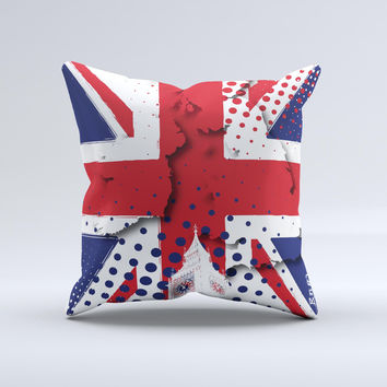 Grunge Vector London England Flag Ink-Fuzed Decorative Throw Pillow