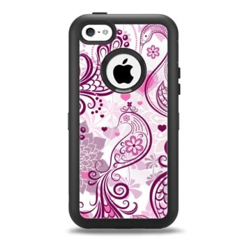 The White and Pink Birds with Floral Pattern Apple iPhone 5c Otterbox Defender Case Skin Set