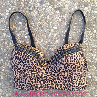 Studded Bustier Bra Top Leopard Print Silver- Gold- or - Black Studs