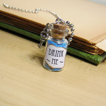 Drink Me - Alice in Wonderland - 1ml Glass Bottle Necklace - Vial Pendant Potion Charm
