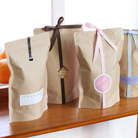Wholesale - 50 Kraft Brown Paper Zipper Lock Pouch - Stand Up Gusset Bags - Party/ Wedding Favor - Tea/ Food Packaging