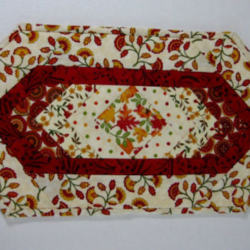 Fall Autumn Quilted Table Topper Candle Mat Mug Rug Farmhouse Rustic