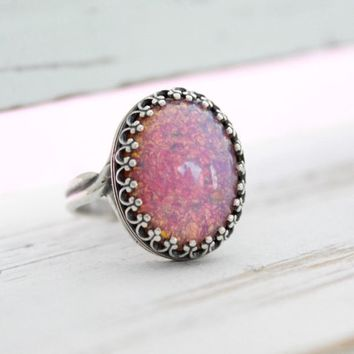 Pink Opal Ring, Large Silver Pink Fire Opal Ring, Big Ring, Adjustable Rings, Opal Jewelry, October Birthstone Jewelry, Antique Silver Rings