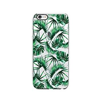 Tropical Coconut Leaves Pattern Transparent Silicone Plastic Phone Case for iphone 6PLUS _ LOKIshop (iphone 6 plus)