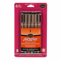 Pigma Brush Ink Pen Set of 6 Color Pack