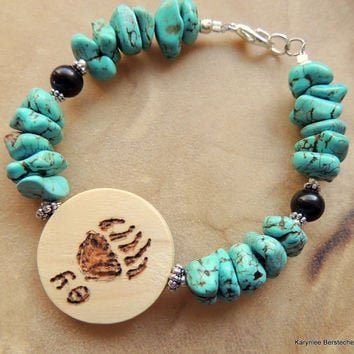 Reserved for Grace----Yona Bear Cherokee Language Syllabary Turquoise Howlite Onyx Totem Carved Native Inspired Bracelet