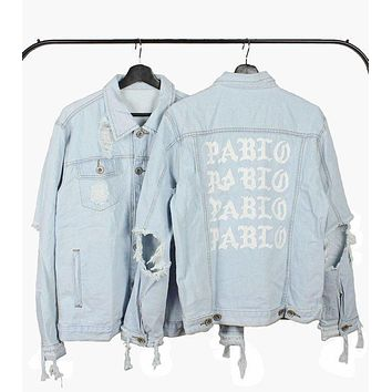 Mens Jeans Jacket Kanye West Pablo Jacket Streetwear Fashion Cotton Denim Slim Short J