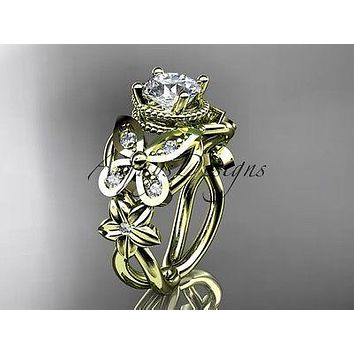 14kt yellow gold diamond floral, butterfly engagement ring  ADLR136