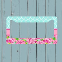 Monogram License Plate Frame - Lily Pulitzer Inspired License Plate Frame - Monogram Car Tag Front License Plate Personalized Plate