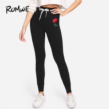 Romwe Sport Black Rose Appliques Floral Women Fitness Running Tights 2018 Skinny Gym Outdoor Workout Jogging Yoga Pants Leggings