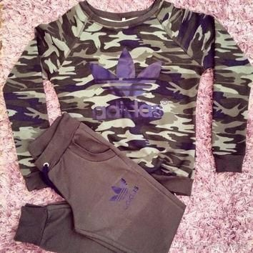 Adidas Fashion Camouflage Sport Gym Set Two-Piece Top Pants Sportswear