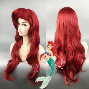 Cool The Little Mermaid Red Wig Body Wave Wavy Wig Cosplay Princess Ariel Wig Role Play CostumeAT_93_12