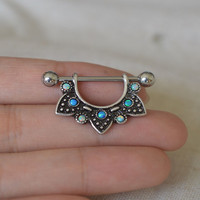 ONE nipple ring,opal nipple ring cool opal nipple piercing