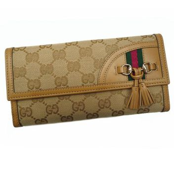 One-nice™ GUCCI Auth 233054 Sherry W Hook Wallet Beige Ladies Free Shipping Mint #1257