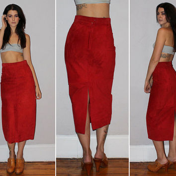 Vintage 80s HIGH WAISTED Leather Skirt / Red Suede Skirt / MIDI Length Skirt / Sexy, Body Con / Boho, Southwestern, Rocker, Biker / Small
