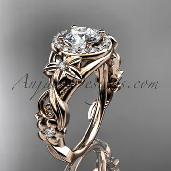 "14kt rose gold diamond unique engagement ring, wedding ring with a ""Forever One"" Moissanite center stone ADLR300"