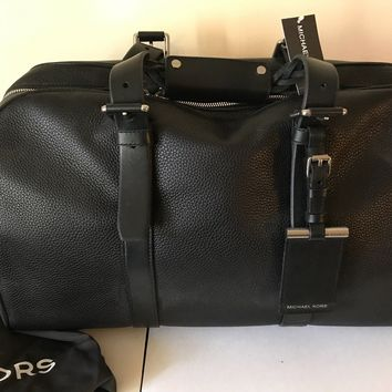 MK_Michael Kors_Men BENNETT LARGE PEBBLED-LEATHER DUFFEL_travel gym bag_MSRP 798