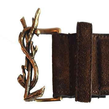 SAINT LAURENT YSL Brown Suede Gold Buckle Logo Belt 439974 Size: 85 - 34 Unisex