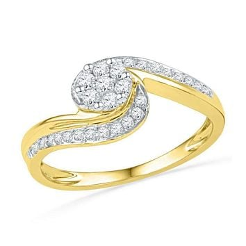 10kt Yellow Gold Women's Round Diamond Flower Cluster Curved Ring 1/3 Cttw - FREE Shipping (US/CAN)