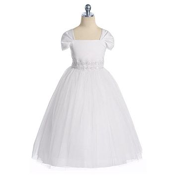 (Sale) White Satin & Tulle Girls Formal Dress with Fan Pleated Sleeves 2T-16