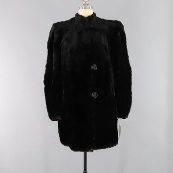 Vintage 1930s River Mink Black Fur Coat / Art Deco Bakelite Buttons