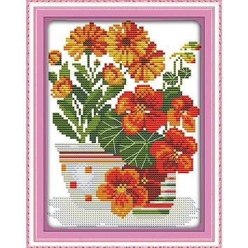 Potted Red flowers Counted Cross Stitch Patterns Kit Cross-stitch DMC Paintings Chinese Cross Stitch Kits Home Decor