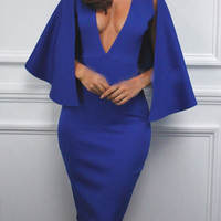 Blue Plunge Neck Cape Style Midi Bodycon Dress