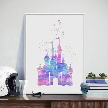 Original Watercolor Romantic Castle  Movie Poster Prints Anime Picture Girl Gifts Wall Art Decoration Canvas Painting No Frame