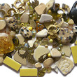 140+ Pc Assorted Yellow Beads Findings Beach Pottery Stone Jewelry Mosaic Crafts