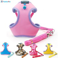 New Fashion Soft Leather Protective Pet Dog Strap Vest Puppy Harness and Leash Lead Set with Bell