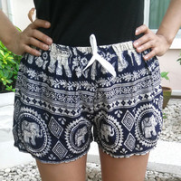 Dark Blue Shorts Elephant Style Print Design Casual Beach Hippie Tribal Rayon Cotton pants Gypsy Thai Batik shorts Women Tribal Boho Tank