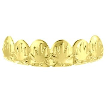 Upper Mouth Grillz Marijuana Weed Leaf Design 14k Gold Finish Top Tooth Caps Hip Hop