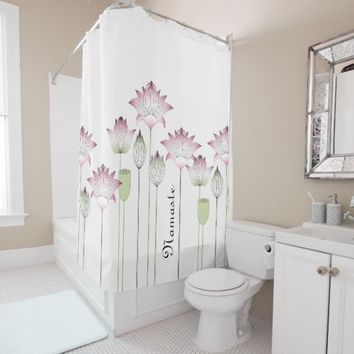 Elegant Chic Pink Lotus Floral Personalized Shower Curtain