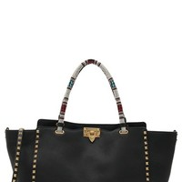 Valentino 'Rockstud' Beaded Handle Leather Tote | Nordstrom