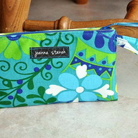 Beautiful zippered wristlet, teal, blue, and green cellphone wristlet, one of a kind clutch wristlet, floral clutch with wrist strap