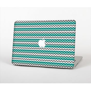 The Vintage Green & White Chevron Pattern V4 Skin Set for the Apple MacBook Air 13""