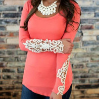 Womens Pink Lace T Shirt Cutout Long Sleeve Bodycon Top