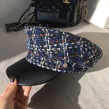Tweed knitted cap student small fragrant blue and white plaid handsome ladies peaked cap and hat female sailor cap