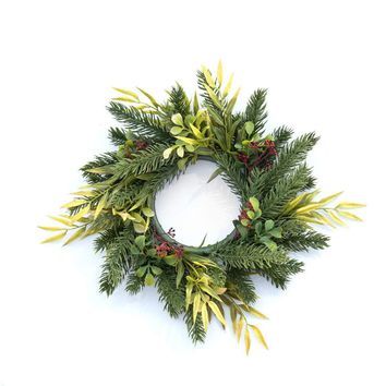 "13"" GREEN AND YELLOW WINTER FOLIAGE WREATH"