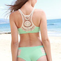 The Girl and The Water - L*Space Swim - Boho Bikini Bottom / Pistachio - $79