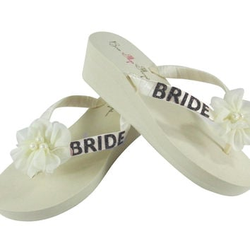 Ivory & Black Glitter Wedge Flip Flops with Chiffon Pearl Flowers Flip Flops