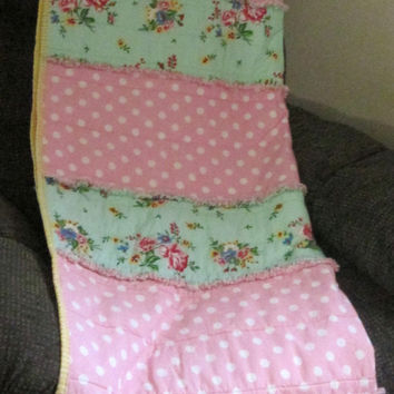 Floral and Dot Rag Lap Quilt, Bed Topper, Toddler Bed Quilt or Blanket - Pink, Aqua, Red, White, Green, Blue