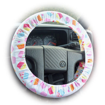 Cute Cupcake print cotton car steering wheel cover pastel colours pink blue yellow very pretty girly girl