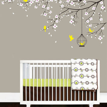 Baby Nursery Decal Birdcage Flying Birds Decals Cherry Blossom Tree Branch Wall  Sticker Baby Girl Room Part 97