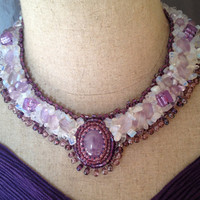 Purple And White,  Beaded Neklace, Amethyst Cabochon, Fluorite Nuggets