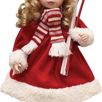 "17.5"" Porcelain ""Dina"" Holding Skis Standing Collectible Christmas Doll"