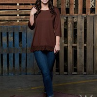 Solid Brown 3/4 Sleeve Shirt with Crochet Lace