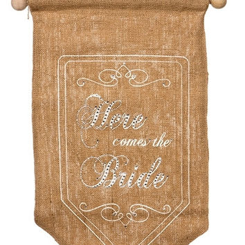 """Banner, """"Here Comes The Bride, Back Side, Just Married, Burlap,Lace, Off White Printing...Designed By D.Stevens"""